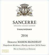 Label Sancerre Blanc Thauvenay 2016