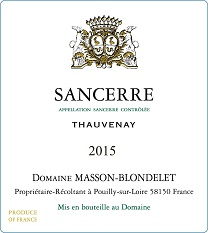 Label Sancerre Rosé Thauvenay 2015
