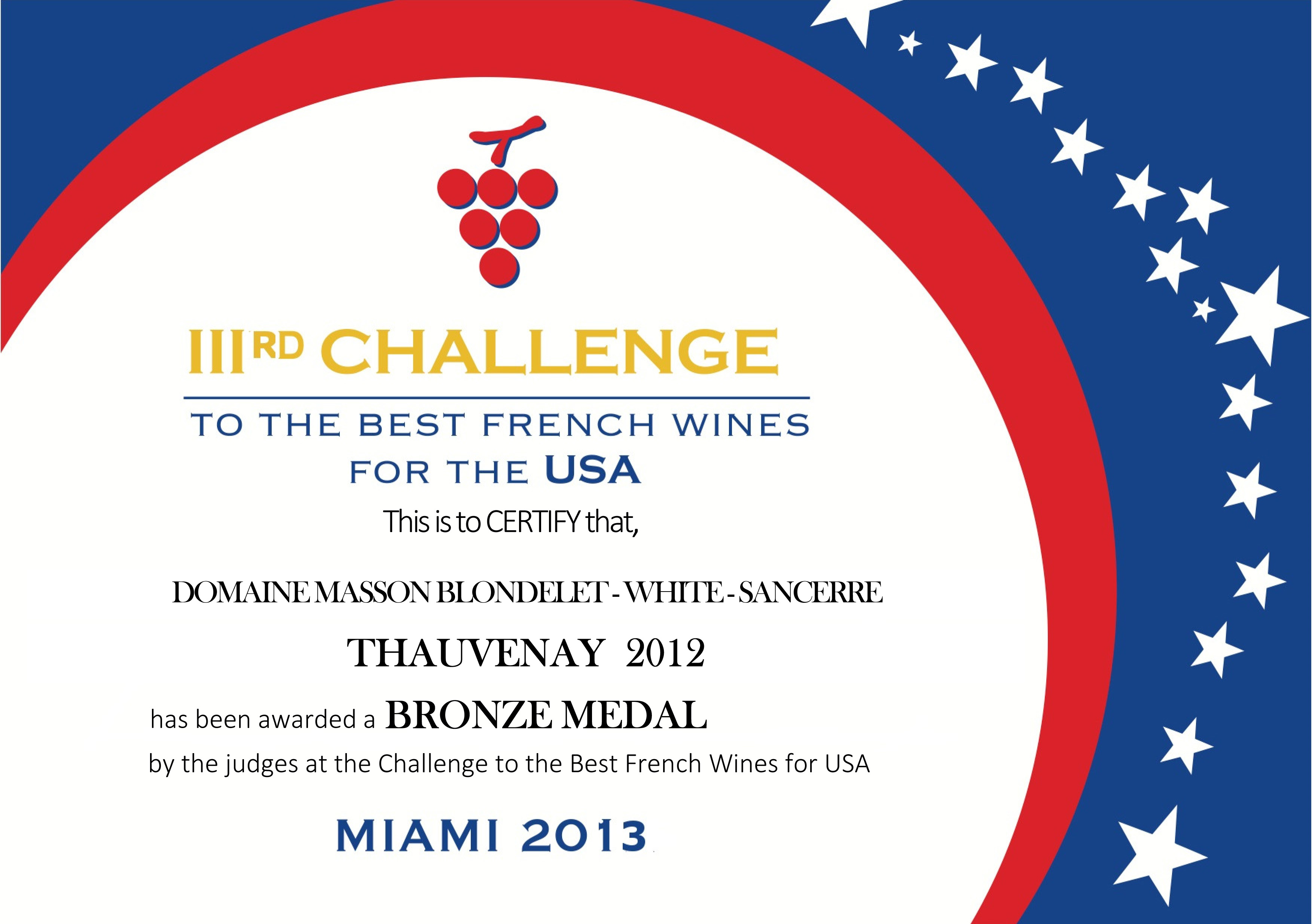 Domaine Masson-Blondelet Challenge to the Best French Wines for the USA