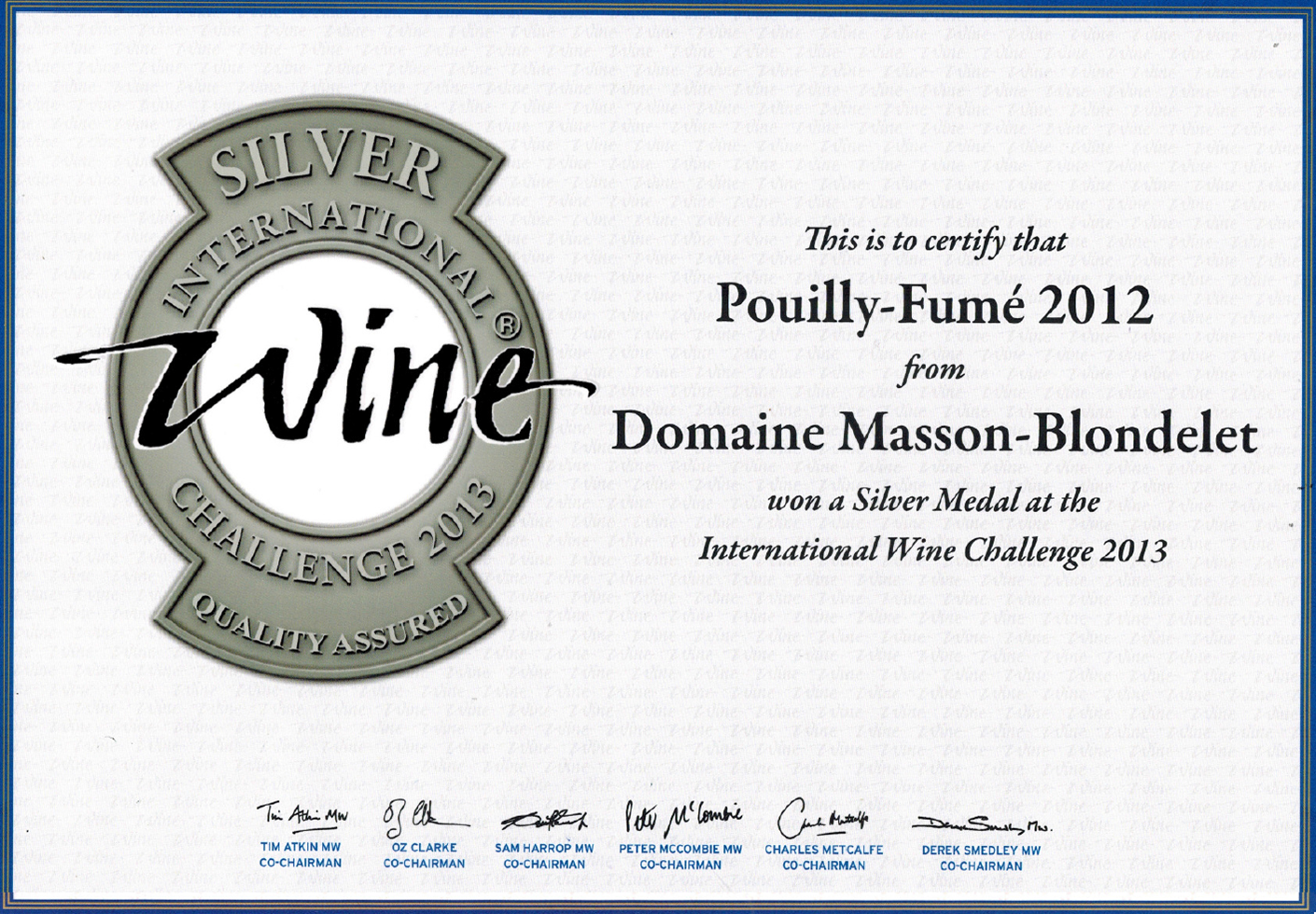Domaine Masson-Blondelet - International Wine Challenge 2013 - Médaille d'Argent