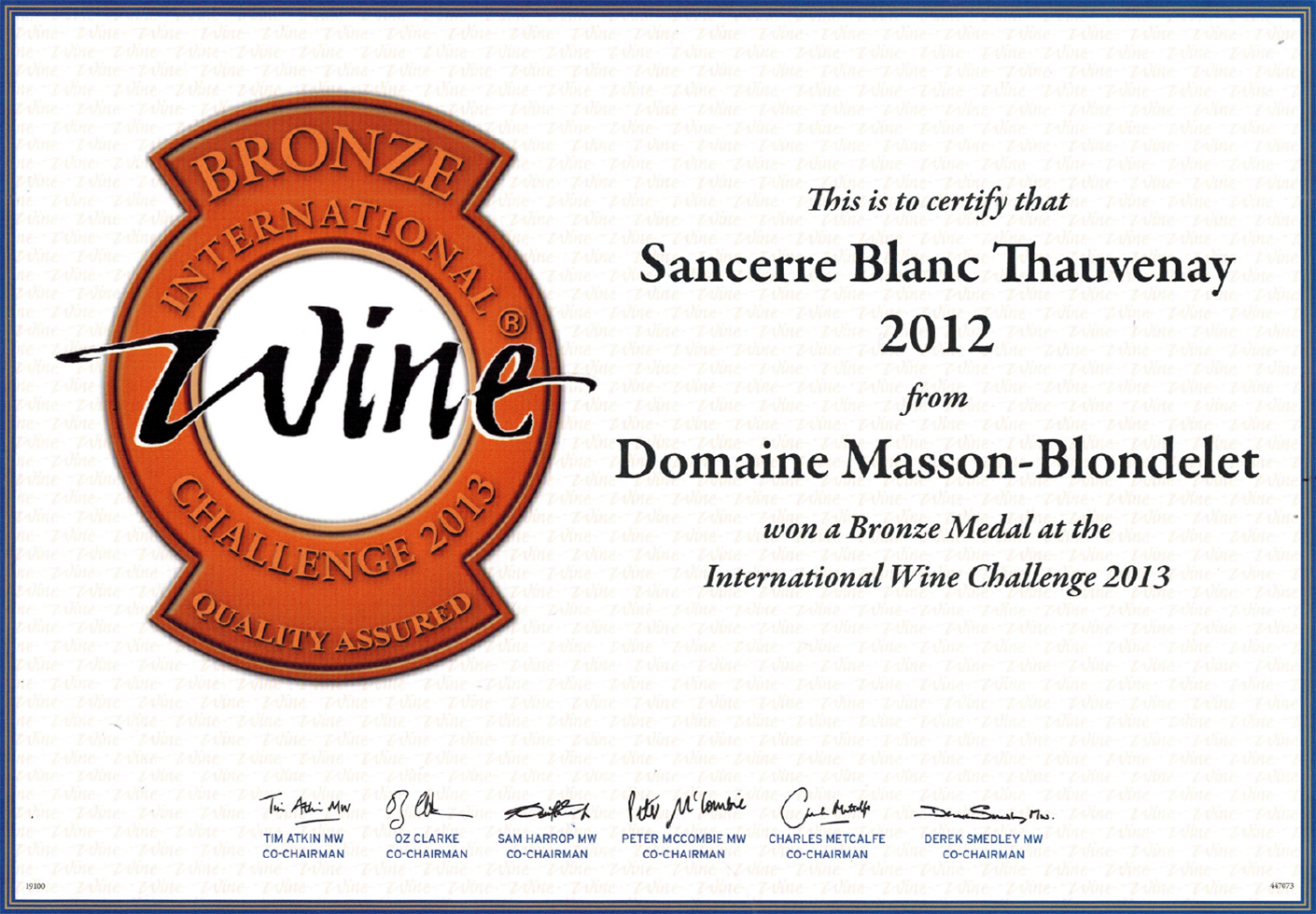 Domaine Masson-Blondelet - International Wine Challenge 2013 - Médaille de Bronze