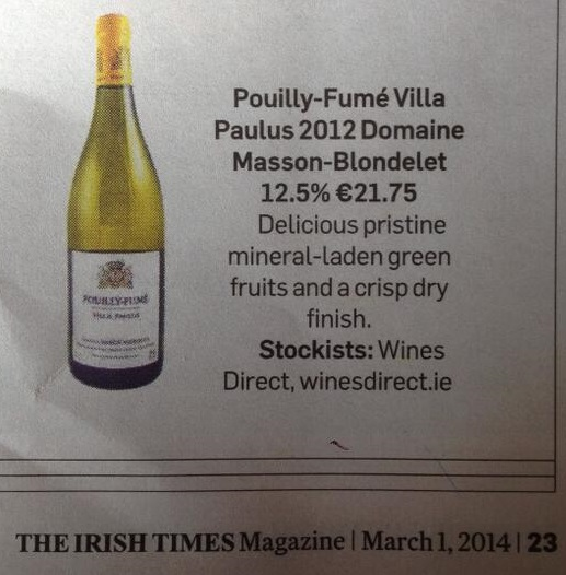 Pouilly Fumé Villa Paulus 2012  in The Irish Times Magazine